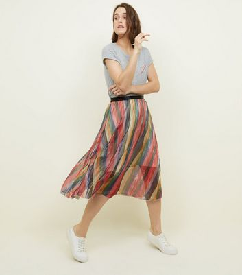 Rainbow Stripe Pleated Chiffon Midi Skirt