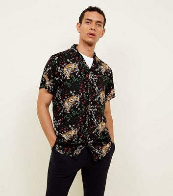 Black Tiger Print Button Through Short Sleeve Shirt