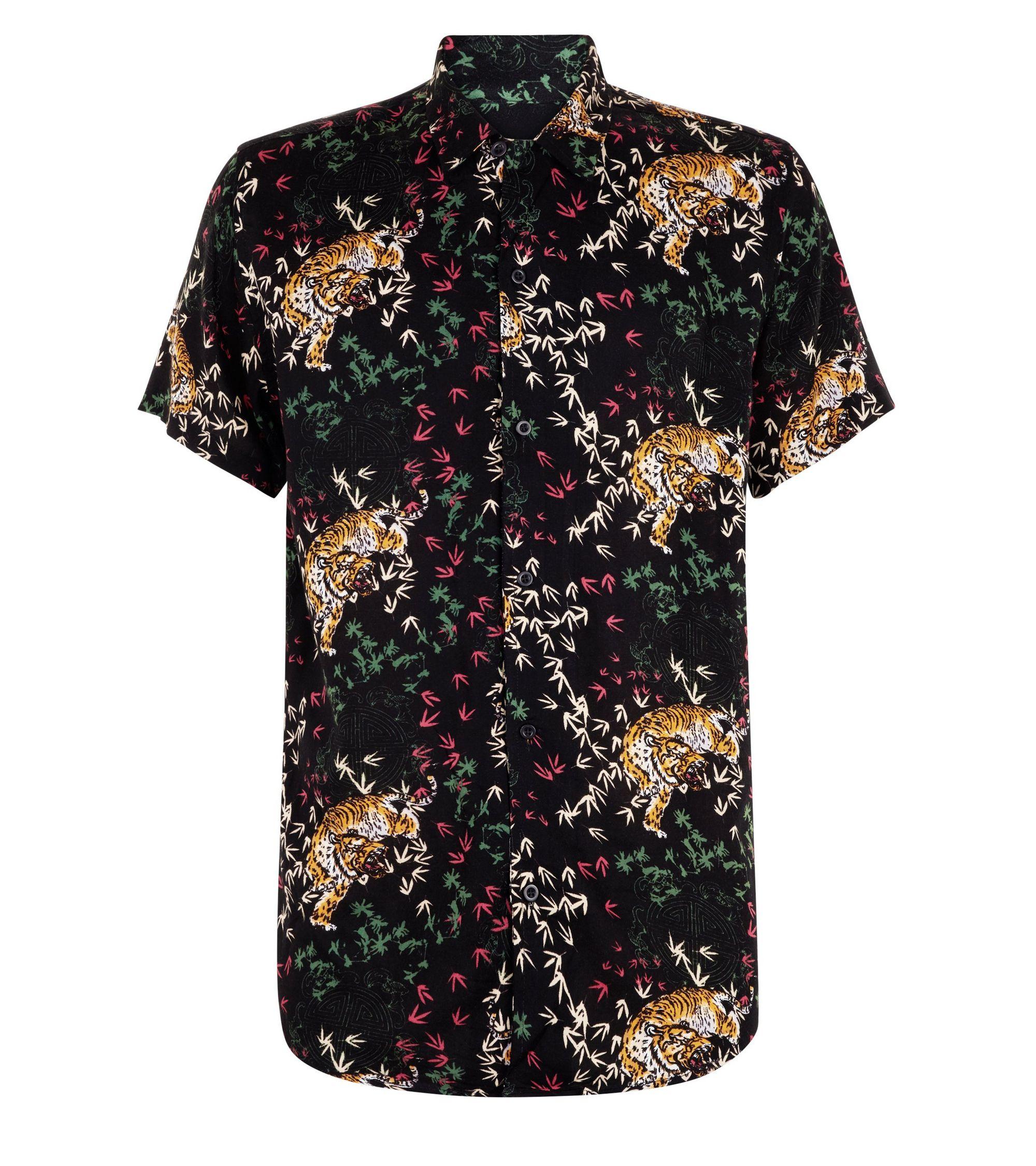 New Look Black Tiger Print Button Through Short Sleeve Shirt at ... 67c5eb146