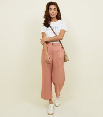 Mid Pink Cropped Straight Leg Trousers
