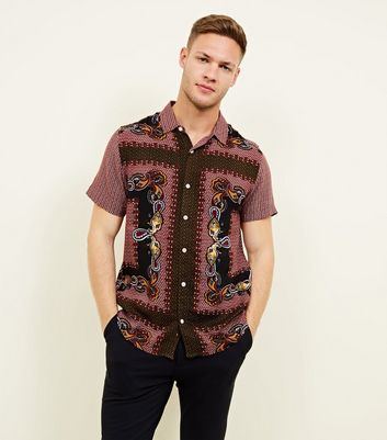 Red Paisley Print Viscose Shirt