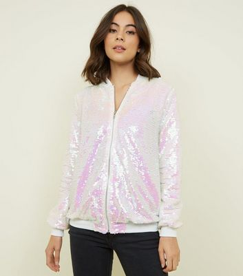 White Iridescent Sequin Bomber Jacket