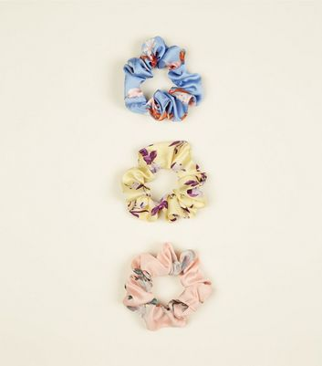 3 Pack Multi Coloured Floral Srunchie