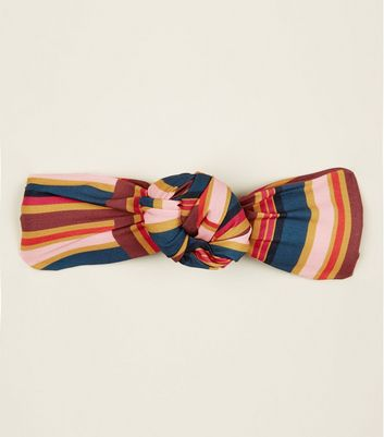 Multi Colour Stripe Knot Front Headband