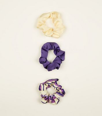 3 Pack Yellow and Purple Scrunchies