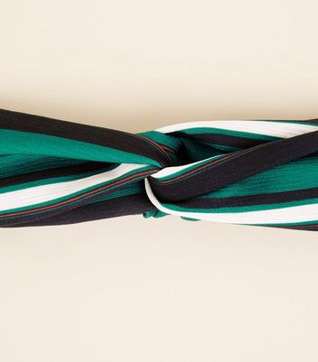 Green Stripe Twist Front Headband