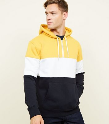 Yellow Colour Block Half Zip Hoodie