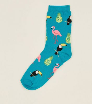 Green Flamingo Printed Socks