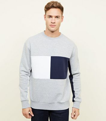 Grey Colour Block Crew Neck Sweatshirt
