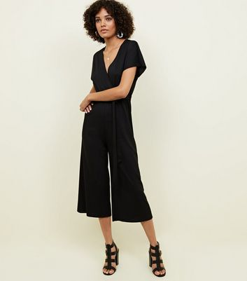 Black Wrap Front Ribbed Jersey Jumpsuit