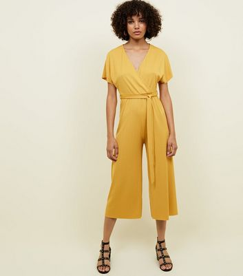 Mustard Wrap Front Ribbed Jersey Jumpsuit