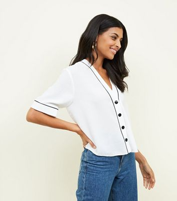 White Button Front Contrast Piped Boxy Shirt
