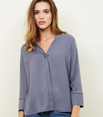 Grey Single Button Blouse