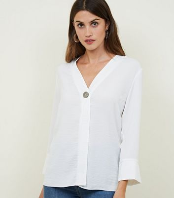 Off White Single Button Blouse by New Look