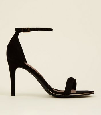 Black Comfort Suedette Metal Trim Stiletto Sandals