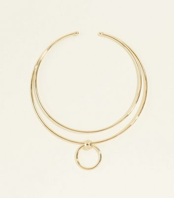 Gold Double Torque Ring Pendant Necklace