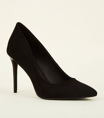 Black Suedette Stiletto Heel Courts
