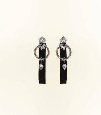Black Crystal Hoop Ribbon Drop Earrings