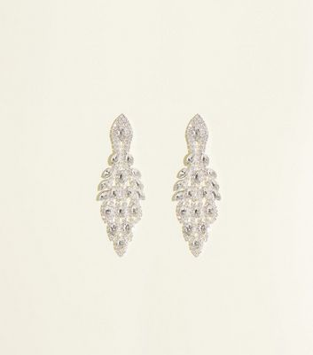 Crystal Peacock Tail Chandelier Earrings by New Look