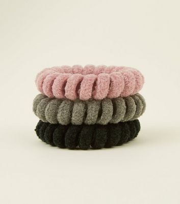 3 Pack Pink Black and Grey Velvet Spiral Hairbands