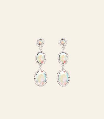 Iridescent Diamanté Oval Drop Earrings