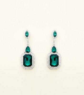Green Stone Drop Earrings By New Look
