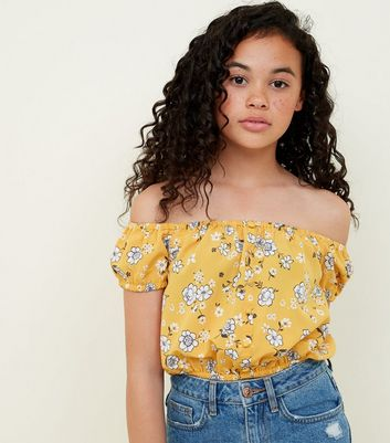 Yellow Floral Button Front Bardot Neck Top