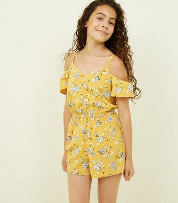 Yellow Floral Print Button Through Playsuit