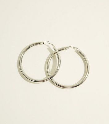 Silver Chunky Oversized Hoop Earrings