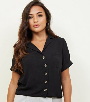 Petite Black Short Sleeve Linen-Look Shirt