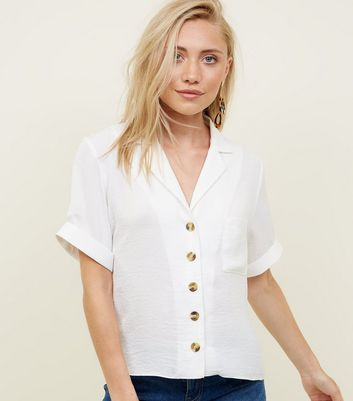 Petite Off White Short Sleeve Linen-Look Shirt
