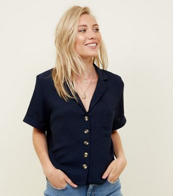 Petite Navy Short Sleeve Linen-Look Shirt