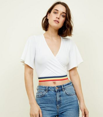 Cream Flutter Sleeve Rainbow Tape Crop Top