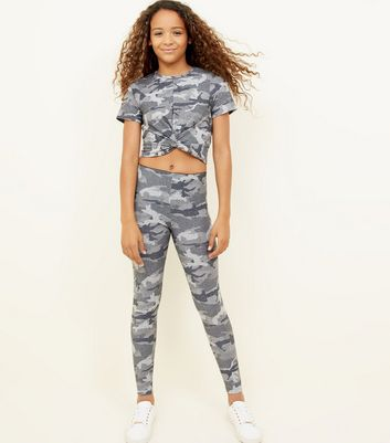 Girls Green Camo Glitter Leggings