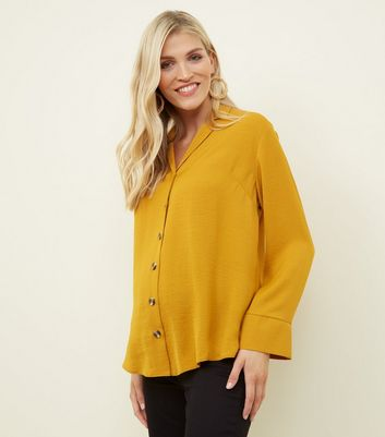 Maternity Yellow Crepe Revere Collar Boxy Shirt