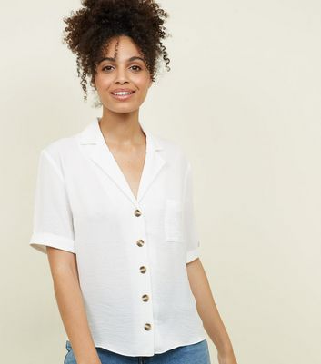 Tall Off White Revere Collar Button Front Shirt