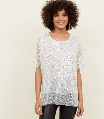 White Sequin Oversized Party T-Shirt