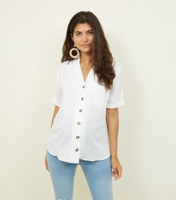 Maternity Off White Revere Collar Button Front Shirt