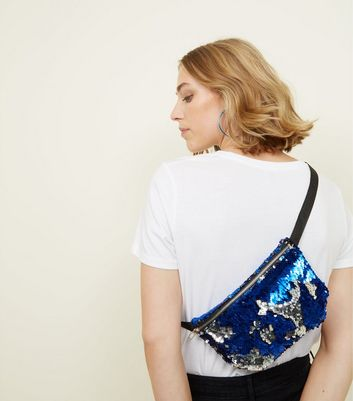 Bright Blue and Silver 2 Way Sequin Bum Bag