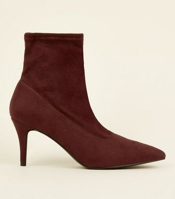 Dark Red Suedette Kitten Heel Sock Boots