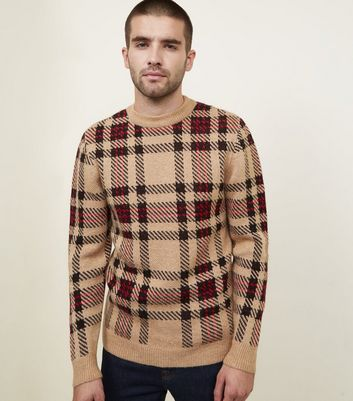 Camel Brushed Check Crew Neck Jumper