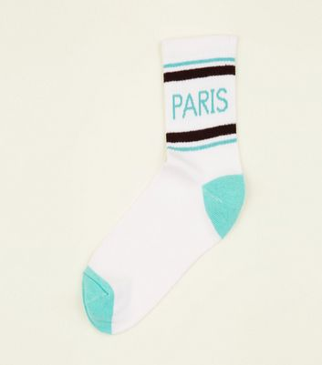 White Paris Sport Stripe Socks