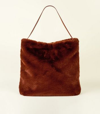 Tan Faux Fur Hobo Bag