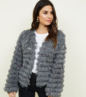 Dark Grey Fine Knit Tiered Fluffy Cardigan