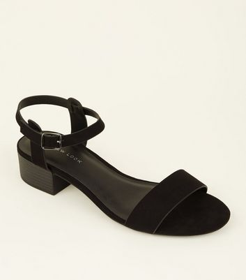 Black Low Block Heel Sandals