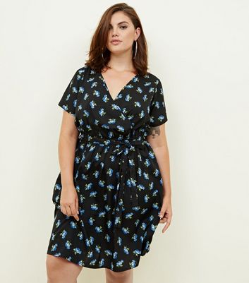 Curves Black Floral Wrap Dress