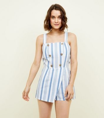 Cameo Rose White Stripe Button Front Playsuit