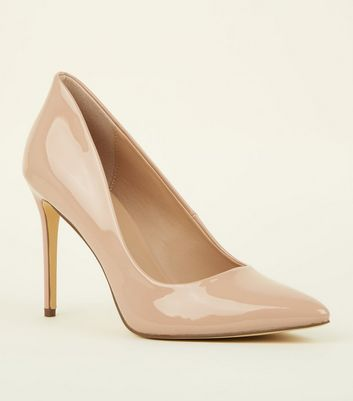 Nude Patent Stiletto Heel Pointed Courts