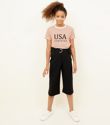 Teens Black D-Ring Belted Culottes
