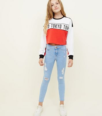 Girls Pale Blue High Waist Ripped Super Skinny Jeans
